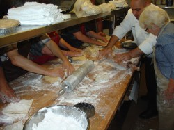 The class learns how to make the perfect pie crust.