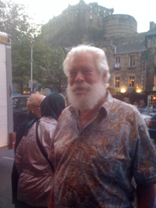 Geezer after the Military Tattoo, with Edinburgh Castle in the background.