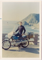 Old Geezer in 1969, with the Bixby Bridge in the background.